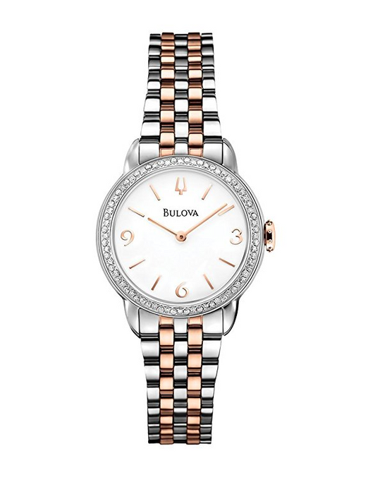 Womens Two Tone Rose Gold and Steel Watch by Bulova