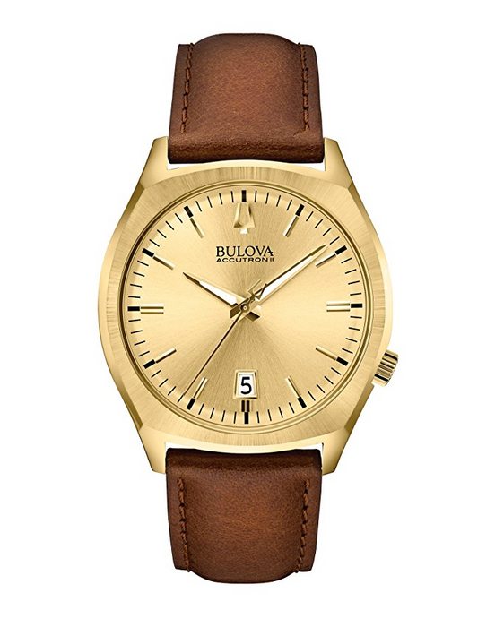 Mens Brown Leather Accutron II Surveyor Watch by Bulova