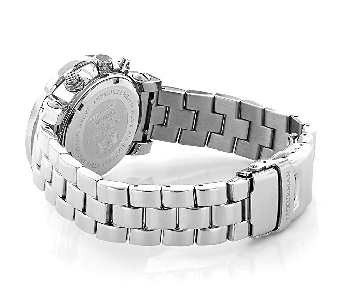 Ladies Real Diamond Watch by Luxurman - .3 Carats - Iced Out