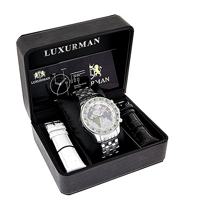 Mens Real Diamond Watch by Luxurman - 3.5 Carats - Iced Out - Continents