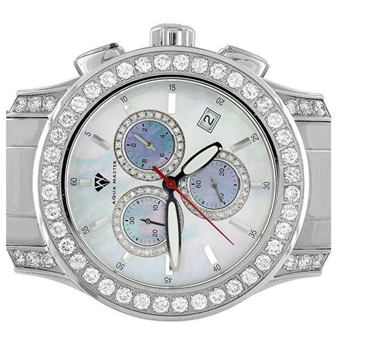 Fully Iced Out Real Diamond Watch for Men by Aqua Master - 15.5 Carats