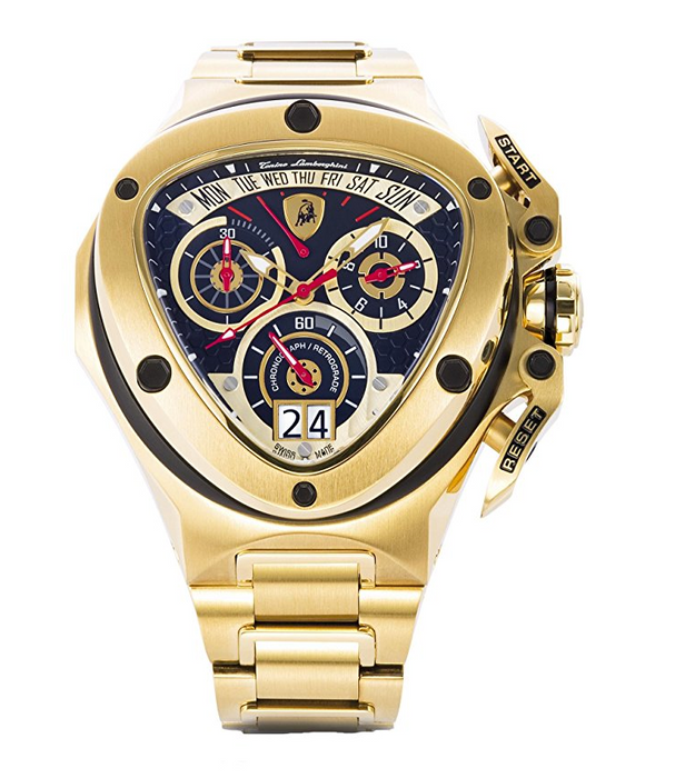 Mens Stainless Steel Gold Spyder 3010 Watch by Tonino Lamborghini