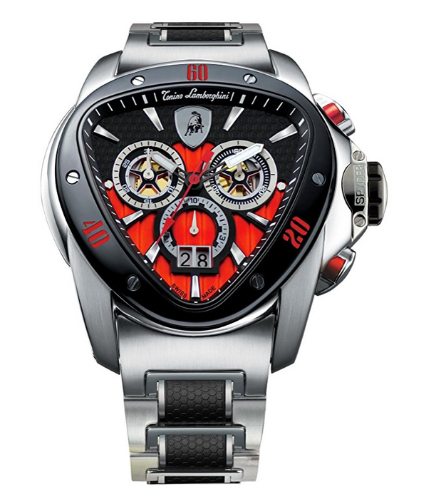 Mens Sleek Silver Spyder 1115 Chronograph Watch by Tonino Lamborghini