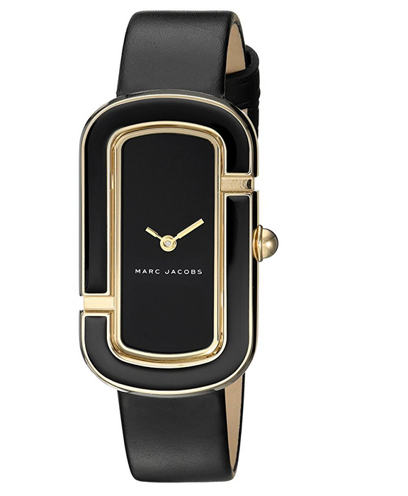"""The Jacobs"" Watch for Women by Marc Jacobs - Black Leather and Gold Toned"
