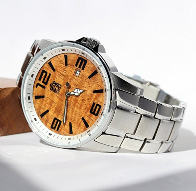 "Metal and Hawaiian Wood Watch by Pono Woodworks - ""The Ambassador"""