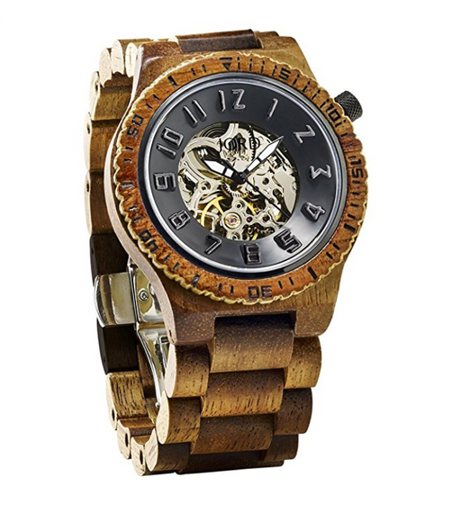 Mens Hawaiian Wood Watch by Jord - Dover Skeleton