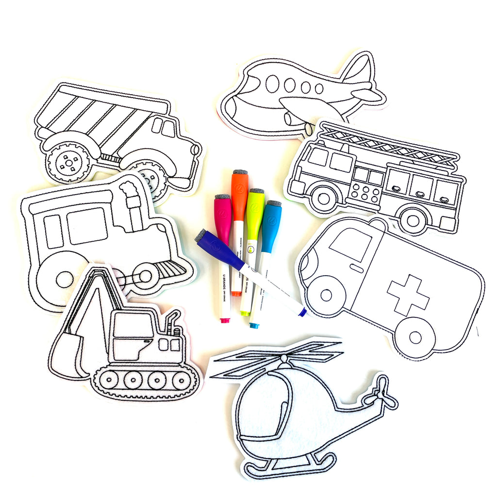 Construction Trucks // Vehicles Coloring Doll