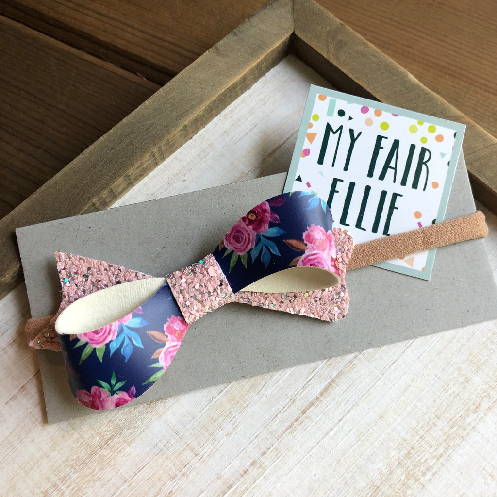Navy Floral Glitter Bow // The Emmy