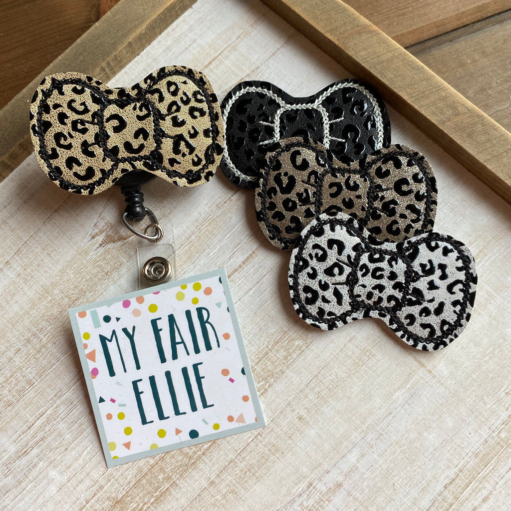Leopard Print Bows Badge Buddy // TOPPERS ONLY!