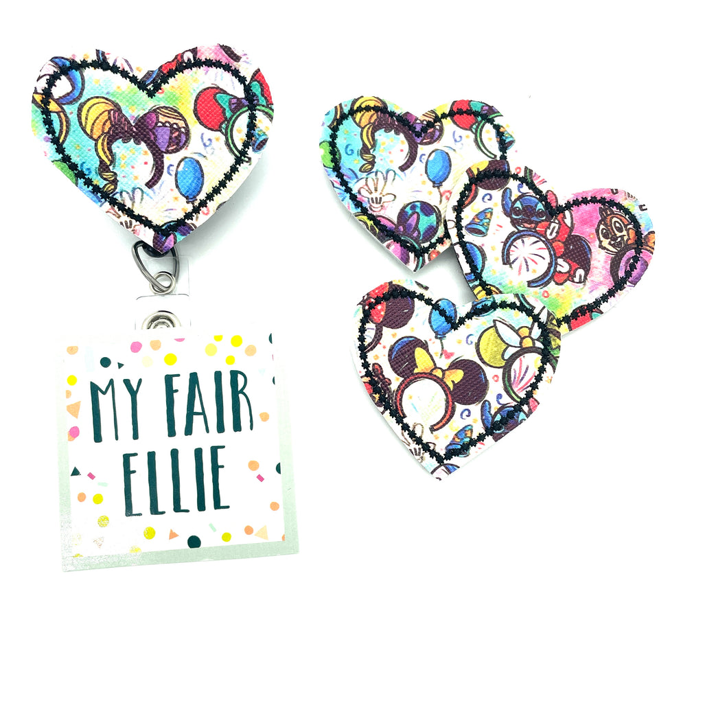 Mouse Ears Hearts // PRINT PLACEMENT WILL VARY // Badge Buddy - TOPPER ONLY!