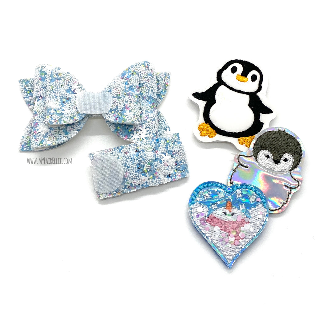 Snow Glitter Bow & Snap Clip // Interchangeable Nellie Bow & Snap Clip // SOLD INDIVIDUALLY