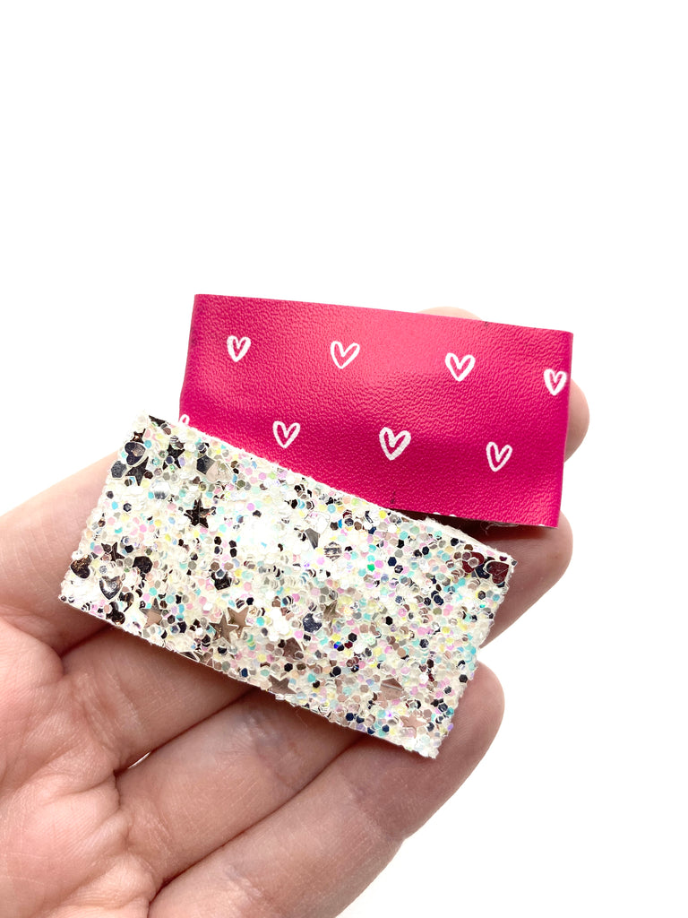 White Glitter + Pink w/Hearts Snap Clip Set // Faux Leather Snap Clips