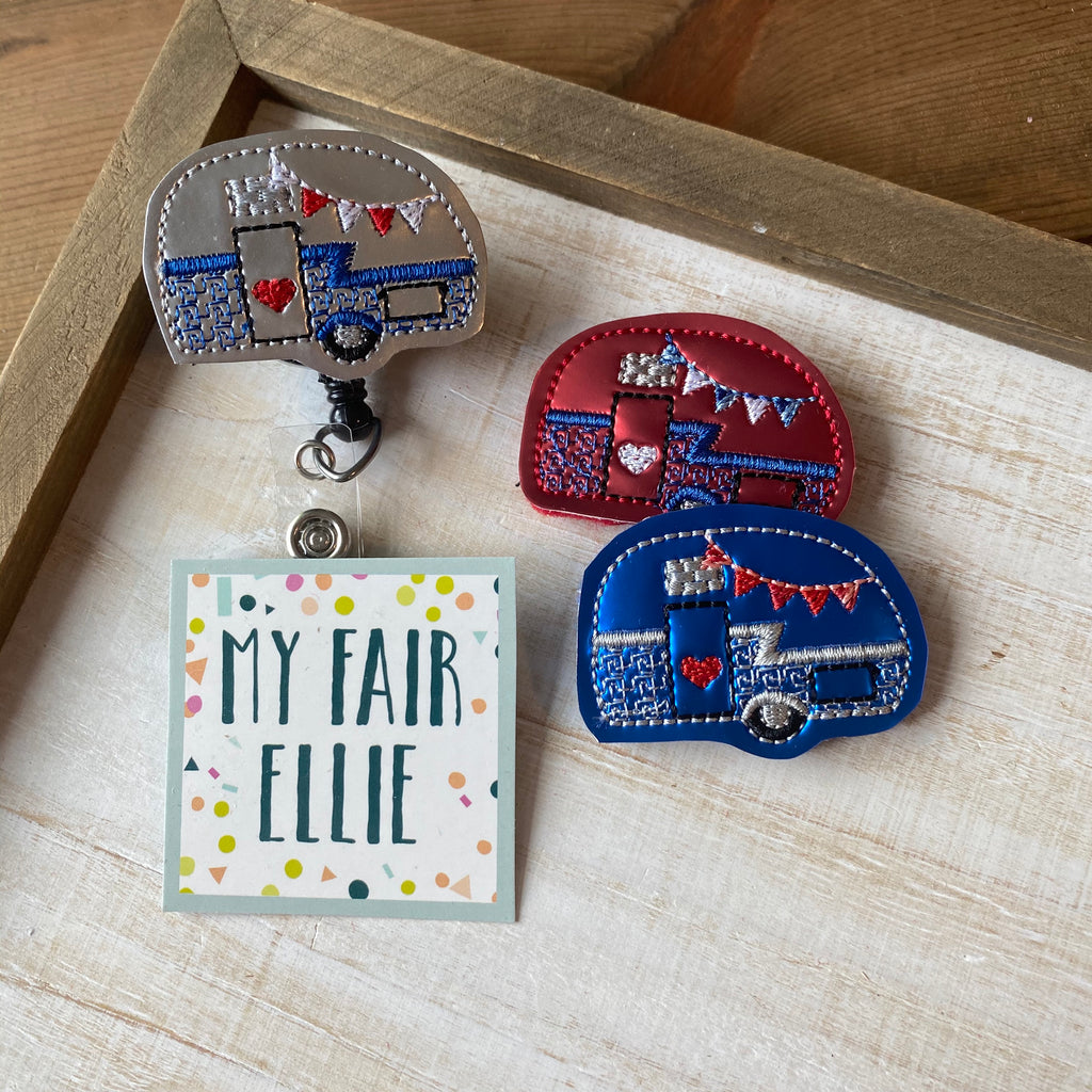 Patriotic Camper Badge Buddy // PARTY IN THE USA // TOPPER ONLY!