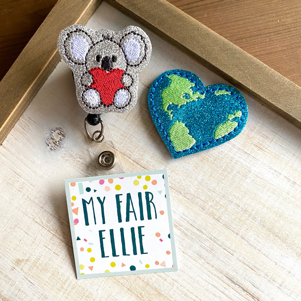 Koala + Earth Heart Badge Buddy - TOPPER ONLY!