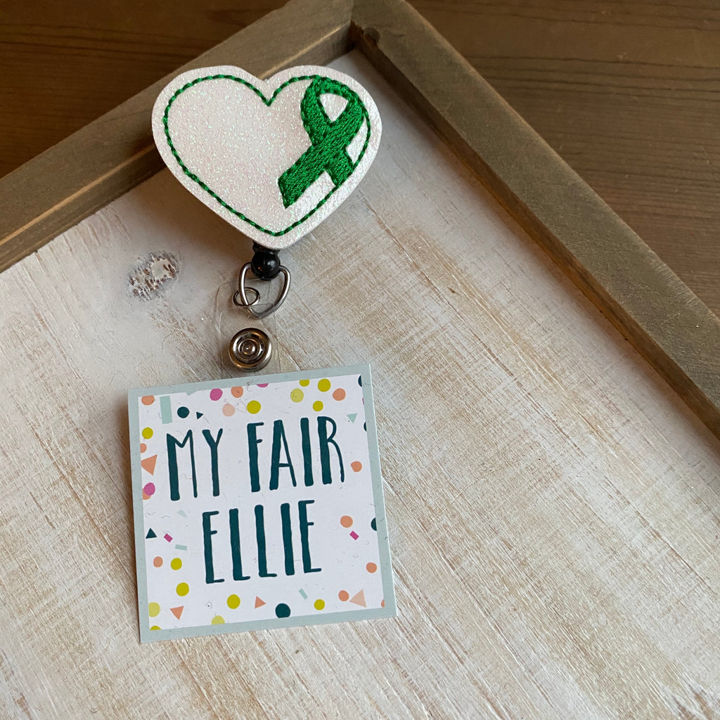 Green Ribbon Heart Badge Buddy - TOPPER ONLY!
