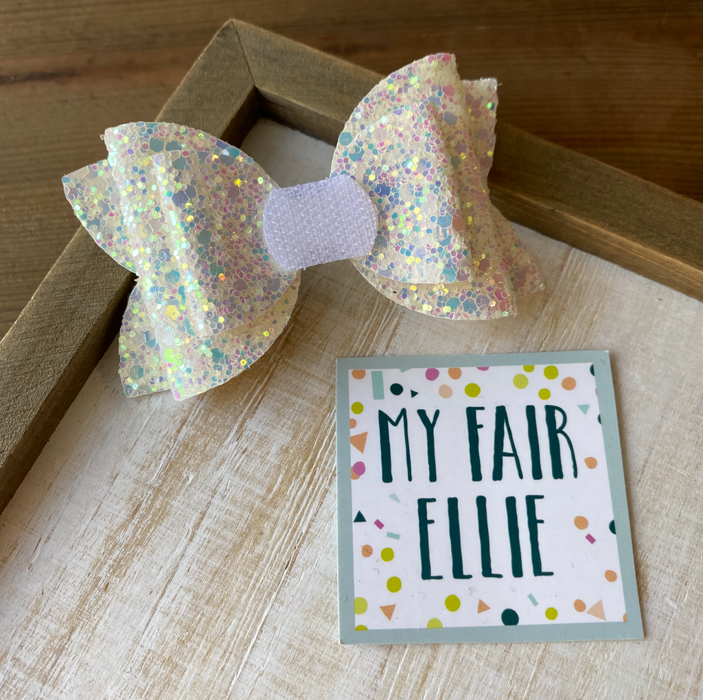 Iridescent White Glitter // Interchangeable Nellie Bow