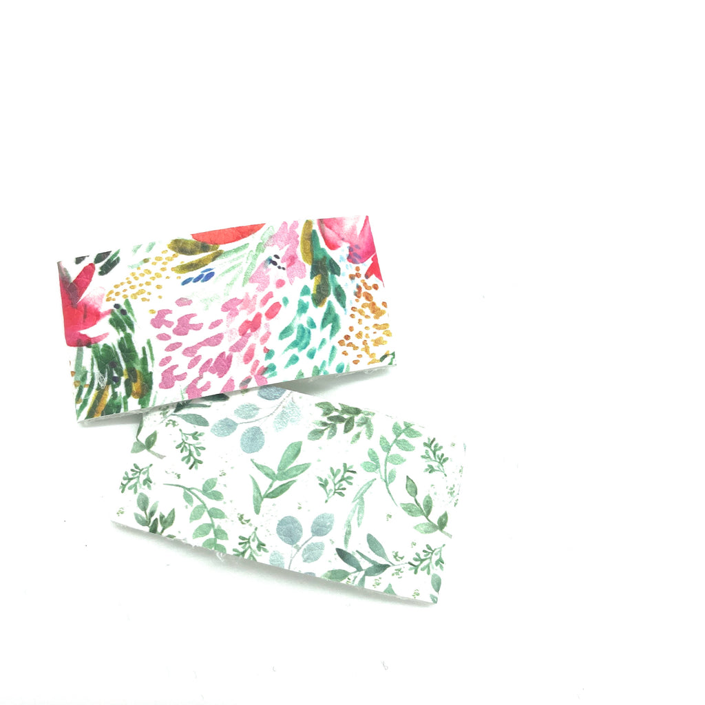 Floral Prints Snap Clip Set // Faux Leather Snap Clips