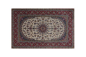 "8' * 5'2"" Isfahan Wool and Silk Persian Rug, Handmade Rug, Kourosh Rugs"