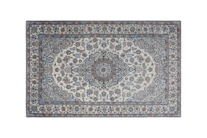 "7' * 4'3"" Nain Wool and Silk Handmade Persian Rug, Handmade Rug, Kourosh Rugs"
