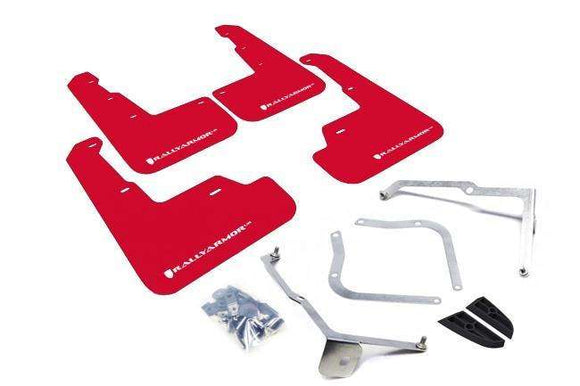 Rally Armor UR Mudflaps - 2015+ WRX / STI - Red with White Logo