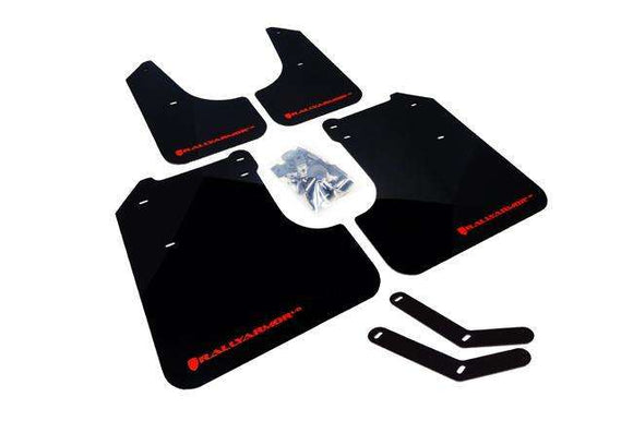 Rally Armor UR Mudflaps - 2008-2014 WRX / STI - 2008-2011 2.5i Impreza - Black with Red Lettering