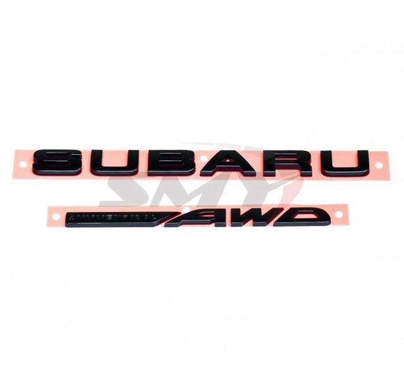 SMY Rear Trunk Subaru Symetrical AWD Emblem Kit - Gloss Black