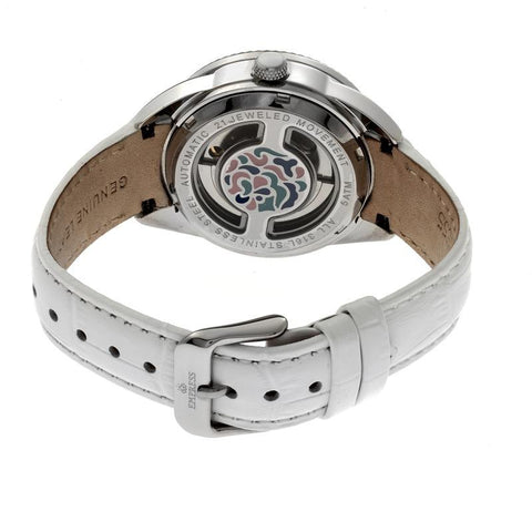 Empress Helena Leather-Band Watch w/Date - Silver/White EMPEM1804