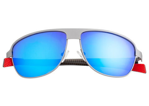Breed Hardwell Titanium and Carbon Fiber Polarized Sunglasses - Silver/Blue BSG007SR
