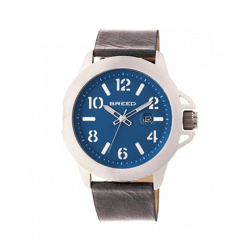 Breed Bryant Leather-Band Watch w/Date - Silver/Blue BRD7101
