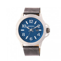Breed Bryant Leather-Band Watch w/Date - Silver/Blue