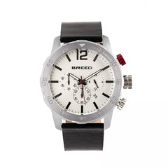 Breed Manuel Chronograph Leather-Band Watch w/Date - Silver