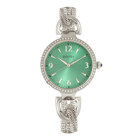 Bertha Sarah Chain-Link Watch w/Hanging Charm - Silver/Emerald BTHBR8902