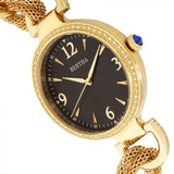 Bertha Sarah Chain-Link Watch w/Hanging Charm - Gold/Black BTHBR8903