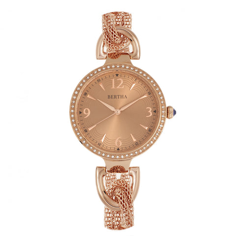 Bertha Sarah Chain-Link Watch w/Hanging Charm - Rose Gold BTHBR8905