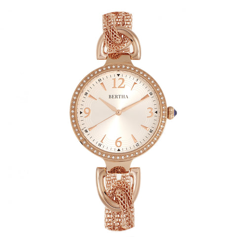 Bertha Sarah Chain-Link Watch w/Hanging Charm - Rose Gold/Silver BTHBR8906