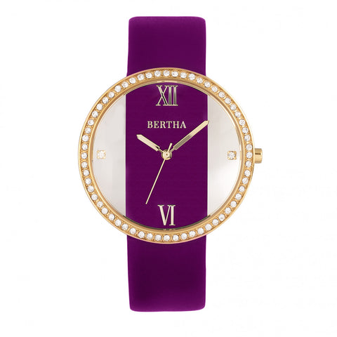 Bertha Ingrid Leather-Band Watch - Fuchsia BTHBR9104