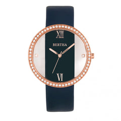 Bertha Ingrid Leather-Band Watch - Navy