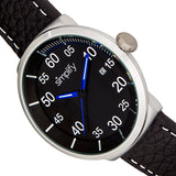 Simplify The 7100 Leather-Band Watch w/Date - Black SIM7103