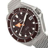 Shield Marius Bracelet Men's Diver Watch w/Date - Silver/Brown SLDSH103-2