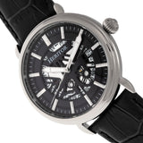 Heritor Automatic Mattias Leather-Band Watch w/Date - Silver/Black HERHR8402