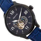 Heritor Automatic Harding Semi-Skeleton Leather-Band Watch - Black/Blue HERHR9005