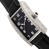 Heritor Automatic Jefferson Leather-Band Watch - Silver/Black HERHR8801