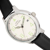 Elevon Sabre Leather-Band Watch w/Date - Silver/White/Black ELE121-1