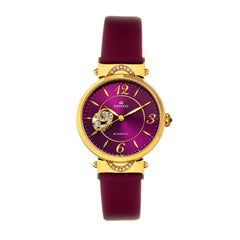 Empress Alouette Automatic Semi-Skeleton Leather-Band Watch - Fuschia