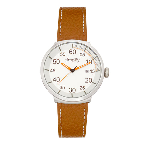 Simplify The 7100 Leather-Band Watch w/Date - Brown/Silver SIM7102