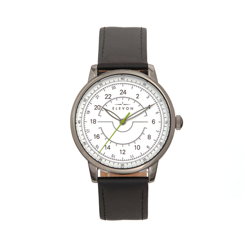 Elevon Gauge Leather-Band Watch - Gunmetal/Black ELE122-4