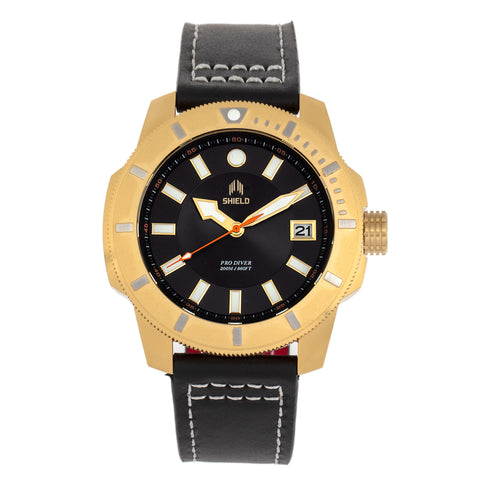 Shield Shaw Leather-Band Men's Diver Watch w/Date - Gold/Black SLDSH106-4