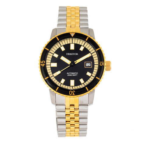 Heritor Automatic Edgard Bracelet Diver's Watch w/Date - Black HERHR9105