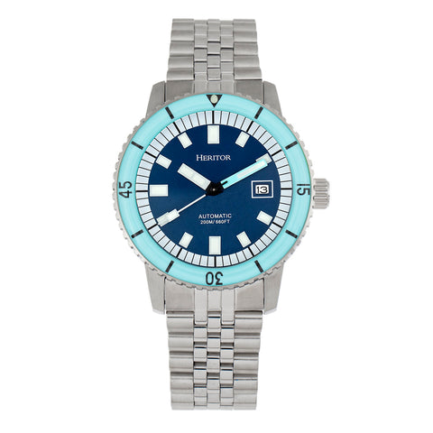 Heritor Automatic Edgard Bracelet Diver's Watch w/Date - Light Blue/Navy HERHR9104