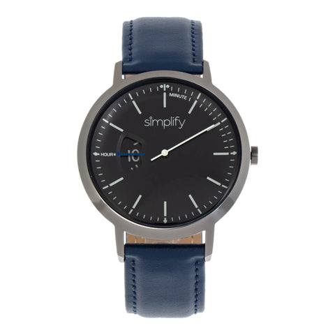 Simplify The 6500 Leather-Band Watch - Blue/Black  SIM6507